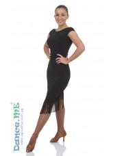 Платье Латина ПЛ237-11 Dance.me, Украина, Масло+гипюр, бахрома, Черный