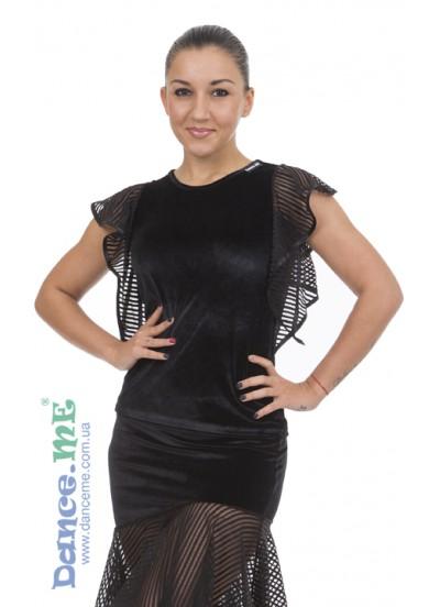 Блуза БЛ24-13-10 Dance.me, Украина, Бархат+сетка, Черный