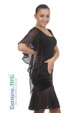 Блуза БЛ400-10 Dance.me, Украина, Масло+сетка, Черный