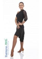 Платье Латина ПЛ13-11 Dance.me, Украина, Масло+гипюр, Черный