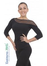 Блуза БЛ411 Dance.me, Украина, Масло+сетка, Черный