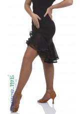 Юбка Латина ЮЛ34 Dance.me, Украина, Масло+сетка, Черный