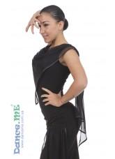 Блуза детская БЛ356 Dance.me, Украина, Масло+сетка, Черный