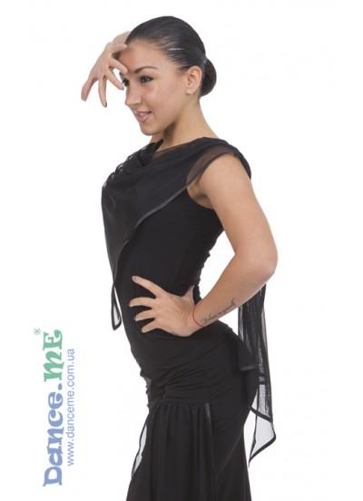 Блуза БЛ356 Dance.me, Украина, Масло+сетка, Черный