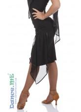 Юбка Латина ЮЛ391-14 Dance.me, Украина, Масло+сетка, Черный