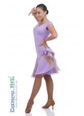 Платье Латина ПЛ182-КР-11 Dance.me, Украина, Масло+гипюр, Сиреневый