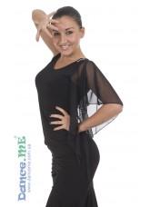 Блуза БЛ400 Dance.me, Украина, Масло+сетка, Черный