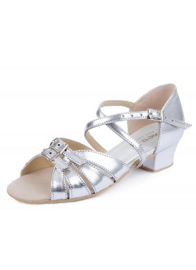 Обувь блок-каблук 304 Dance.me, Украина, БК, Серебряный, кожзам