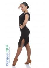 Dance ME Платье женское ПЛ237, масло+сетка, бахрома, черный