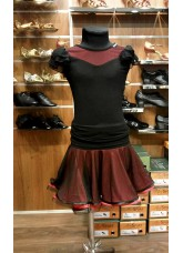 Юбка Латина ЮЛ363 Dance.me, Украина, Масло+сетка, Черный/Красный