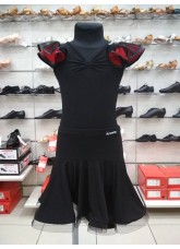 Dance Me Блуза детская БЛ337-5, масло / сетка, черный / красный