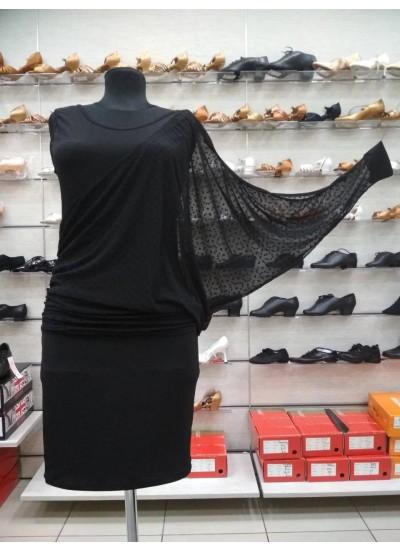 Платье Латина ПЛ240-6 женское Dance.me, Украина, масло+сетка, Черный