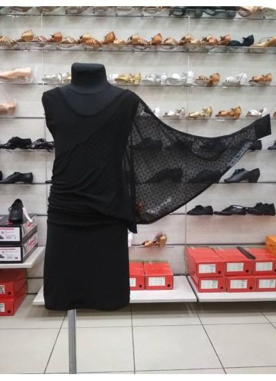 Детское платье для латины Dance Me ПЛ240-6, масло / сетка, черный
