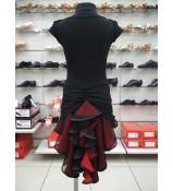 Юбка детская Латина ЮЛ48-5 Dance.me, масло+сетка, Черный/Красный