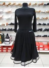 Блуза женская БЛ411-17 Dance.me, Украина, Масло+сетка, Черный