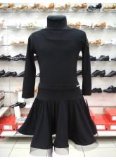 Блуза БЛ411-17 Dance.me, Украина, Масло+сетка, Черный