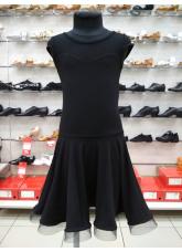 Платье Латина ПЛ334-17 Dance.me, Украина, Масло+сетка, Черный