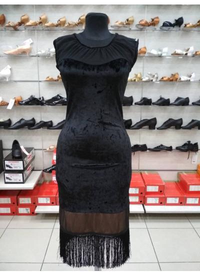 Платье женское Латина ПЛ220-13С Dance.me, Украина, Бархат+сетка, Черный