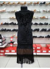 Платье детское Латина ПЛ220-13С Dance.me, Украина, Бархат+сетка, Черный