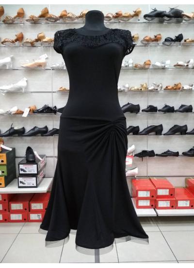Женское платье для латины Dance Me ПЛ422-11, Масло+гипюр, Черный