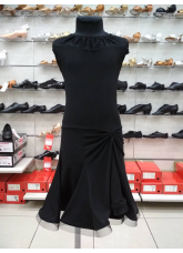 Детское платье для латины ПЛ422-11 Dance.me, Масло+гипюр, Черный