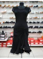 Женское платье для латины ПЛ422-17 Dance Me, Масло+сетка, Черный