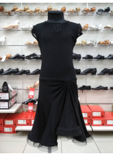Детское платье для латины ПЛ422-17 Dance.me, Масло+сетка, Черный