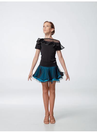 Dance Me Блуза детская БЛ96-КР, масло / сетка, черный