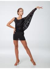 Платье Латина ПЛ240-11 женское Dance.me, масло / гипюр, черный