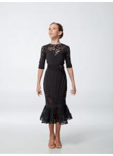 Платье детское Латина ПЛ428 Dance.me, Масло+гипюр, Черный
