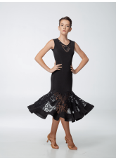 Платье женское ПЛ430-11 Dance.ME, масло+гипюр, черный
