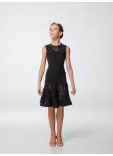 Платье для девочки ПЛ430-11 Dance.me, масло+гипюр, черный