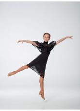 Платье детское Латина ПЛ431-11 Dance.me, масло+гипюр+бархат, черный