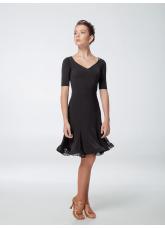 Женское платье для латины ПЛ438 Dance Me, масло+гипюр, Черный