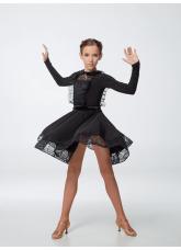 Платье детское Латина ПЛ441-11 Dance.me, масло+гипюр+сетка+бархат, черный