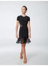 Платье женское Латина ПЛ443-11, масло+гипюр, черный, Dance.me, Украина