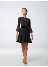 Платье женское ПЛ444-15 Dance.ME, масло+гипюр+бархат, черный