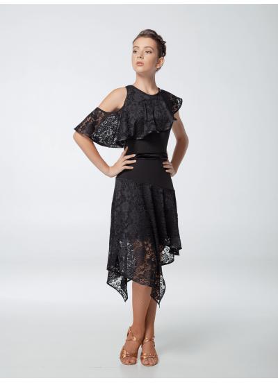 Платье женское Латина ПЛ447, масло+гипюр, черный, Dance.me, Украина