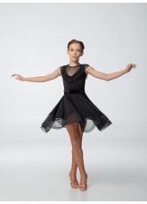 Платье для девочки ПЛ449-6 Dance.me, масло+сетка, черный