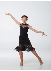 Платье детское Латина ПЛ450-11 Dance.me, масло+сетка+гипюр, черный