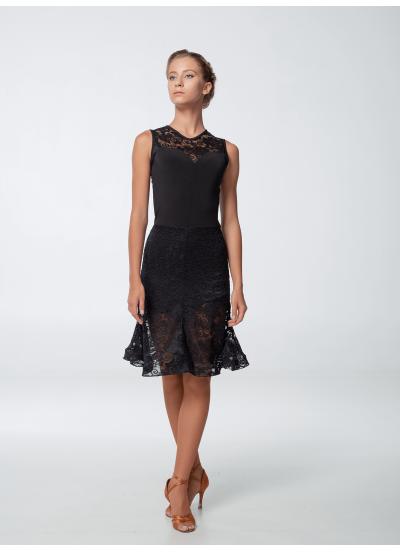 Платье женское Латина ПЛ451-11, масло+гипюр, черный, Dance.me, Украина