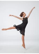 Платье детское Латина ПЛ451-11 Dance.me, масло+гипюр, черный