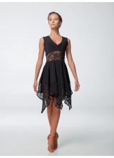 Платье женское Латина ПЛ452-11 Dance.me, Украина, Масло+гипюр, Черный