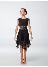 Платье детское Латина ПЛ452-11 Dance.me, масло+гипюр, черный
