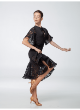 Платье женское Латина ПЛ454-11-16 Dance.me, Масло+гипюр+бархат, Черный