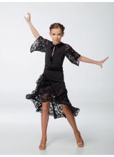 Платье детское Латина ПЛ454-11-16 Dance.me, масло+гипюр+бархат, черный