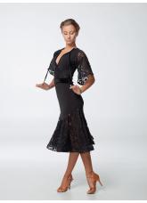 Платье женское Латина ПЛ454-11 Dance.me, Масло+гипюр+бархат, Черный