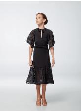 Платье детское Латина ПЛ454-11 Dance.me, масло+гипюр+бархат, черный