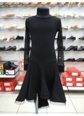 Платье Латина PL204-19# детское DANCEME, масло+сетка+креналин, черный