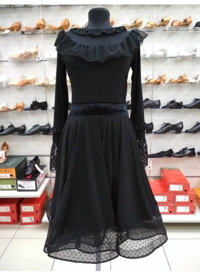DANCEME Платье женское PL448-6#, масло+сетка+гипюр+бархат, черный